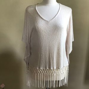 Black Bead  Small pullover heavily fringed!